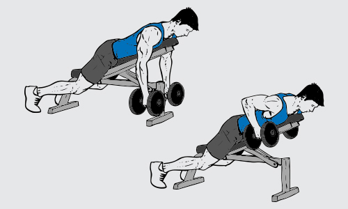 Dumbbell incline bench rows