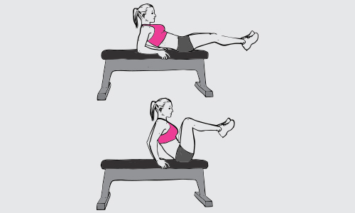 Flat bench knee-ups
